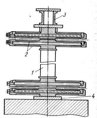 Рис. 89. Виброизоляторы с гидрошарнирами:  1 - жесткий стержень; 2 - кольцевые   пластины; 3 - опорная  конструкция  машины; 4 - опора виброизолятора